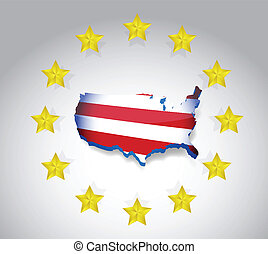 stars and us flag map illustration design