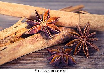 Stars anise and cinnamon isolated on a wooden background