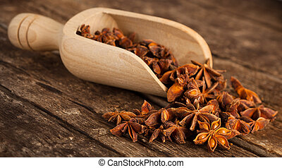 Stars anise on wooden table
