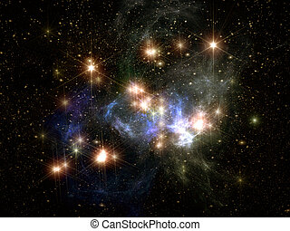 stars ans space - colorful stars and space 3D