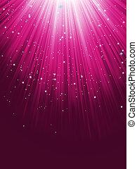 Stars are falling on purple luminous rays. EPS 8