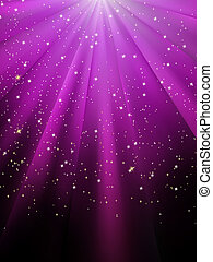 Stars are falling on purple luminous rays. EPS 8 - Snow and ...