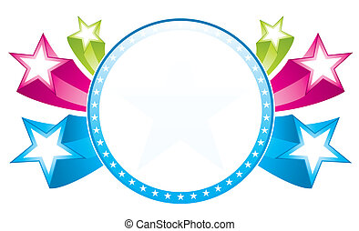 Colorful Frame with stars ioslated on white background