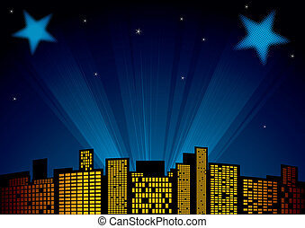 Stars at sky - View of city at night with spotlights in...