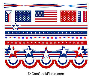 Patriotic symbols and decorations in red, white and blue - USA.