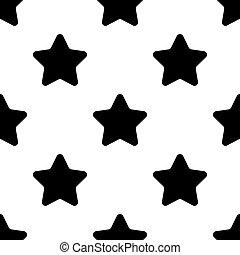 Stars black seamless pattern on white background Flat design Vector