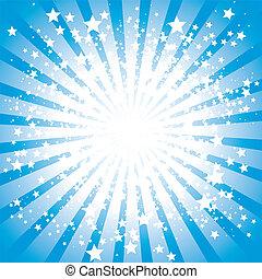 Abstract stars burst in blue, vector illustration