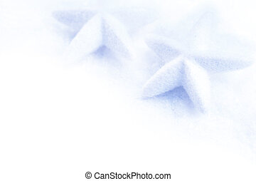 stars christmas decoration in white snow isolated