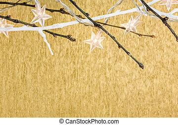 stars christmas lights on golden background