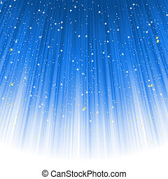 Snowflakes and stars descending on a path of blue light. EPS 8 vector file included