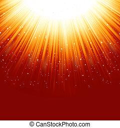 Stars descending on a path of golden light. EPS 8
