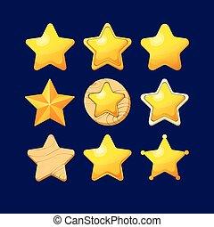 stars., differente, set, cartone animato