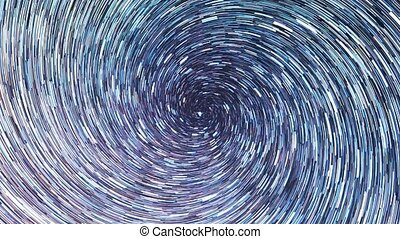 Stars draw a line in the sky. screw spiral. Night, Russia