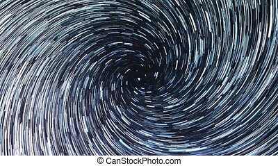 Stars draw a line in the sky. Spiral. Long lines. Russia