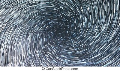 Stars draw a line in the sky. Spiral. Night, Russia