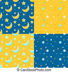 stars., ensemble, arrière-plans, seamless, lune