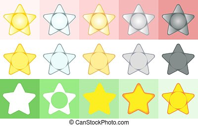 stars., ensemble, cinq, icons.
