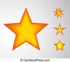 stars., ensemble, jaune, icônes