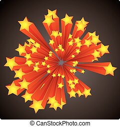 Stars explosion - Graphic stars explosion with stripes on a...
