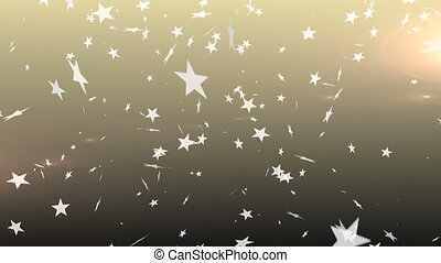 Stars falling against bright backround - Digitally generated...