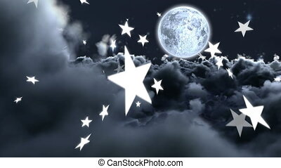 Stars falling on grey background