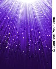 Stars falling purple luminous rays. EPS 8