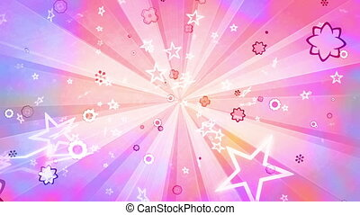Stars flowers retro looping abstract CG animated multicolored backdrop