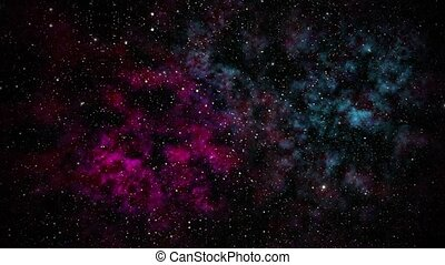 Stars fly past the viewer against a backdrop of clouds in space. HD