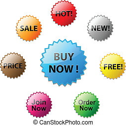 Stars for discount prices - Vector glossy stars for discount...