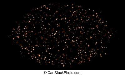 Stars Forming Golden Sphere - Vivid stars in dynamic motion...