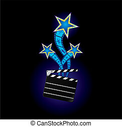 Three neon stars comming out from clapboard