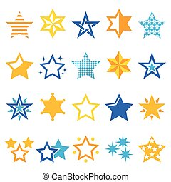 Stars gold and blue vector icons