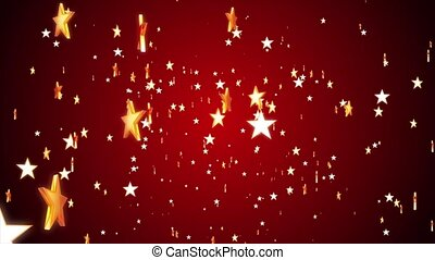 Stars - Gold stars continuously fall against a red...