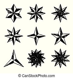 Stars grunge vector icons set