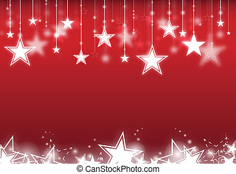 Stars hanging down with red background