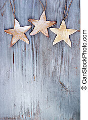 stars hanging on wooden board