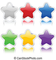 stars icon with metal contour