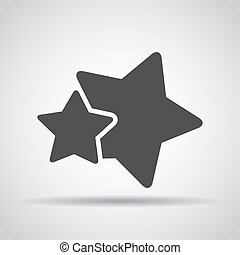 Stars icon with shadow on a gray background. Vector illustration