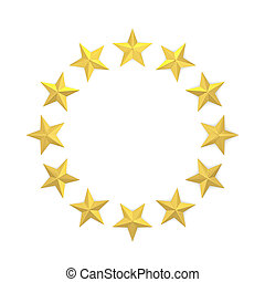 Stars in a circle shape. 3d illustration isolated on white...
