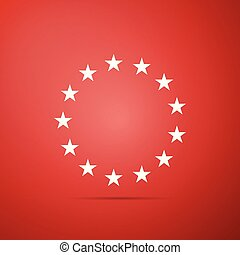 Stars in circle icon isolated on red background. Flat design. Vector Illustration