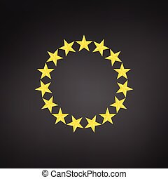 Stars in circle icon. vector illustration isolated on black background.