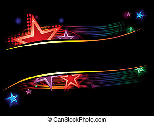 Stars in color - Background with stars and lines in vibrant...