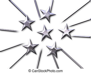 stars in silver - A team of stars in silver bevel on white...