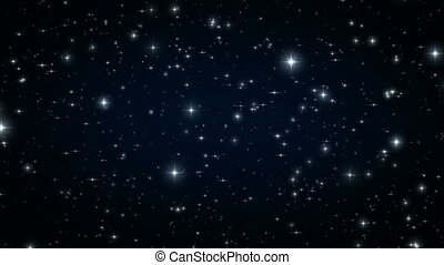 Stars in the Black Night Sky. Looped Animation. Beautiful...