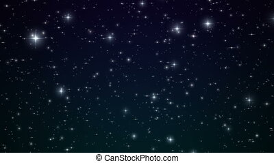 Stars in the Blue Night Sky. Looped Animation. Beautiful Night with Twinkling Flares. 4k Ultra HD 3840x2160.