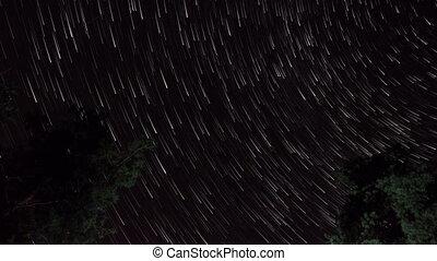 Stars in the night sky. Stars leave tracks.