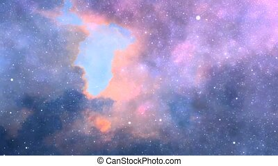 Stars in the cloudy sky