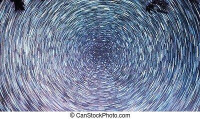 Stars leave traces. Night, Russia. UltraHD (4K)