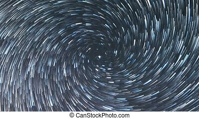 Stars like meteors in a spiral. Zoom. Time Lapse