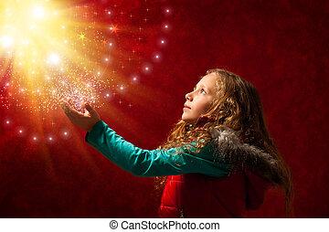 stars., m�dchen, berühren, junger